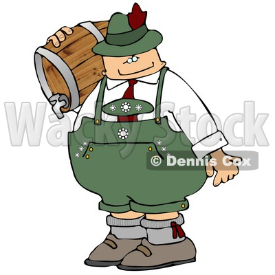Oktoberfest Beer Man Carrying a Keg Clipart © djart #5236