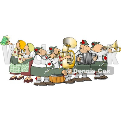 People Celebrating Oktoberfest with Live Music and Beer Clipart © djart #5237