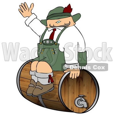 German Man Sitting On a Beer Keg During an Oktoberfest Celebration Clipart © djart #5239
