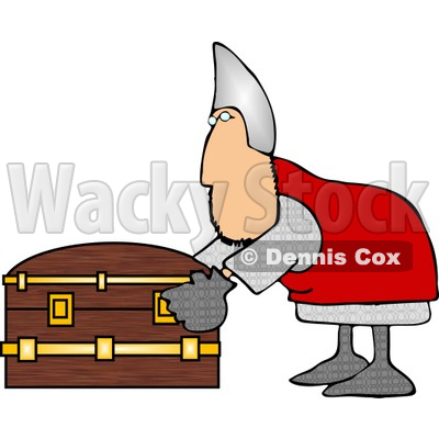Soldier Opening a Wooden Treasure Chest Clipart Illustration © djart #5257