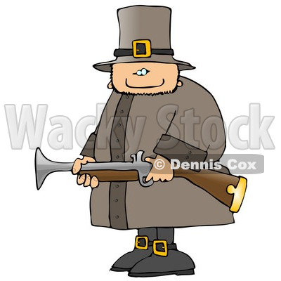 Armed Pilgrim Man Hunting Birds Clipart Illustration © djart #5473