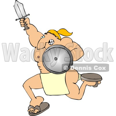 Muscular Warrior Charging to Battle with a Sword and Shield Clipart Illustration © djart #5474
