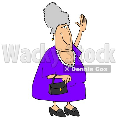 Elderly Woman Trying to Wave Down a Taxi Clipart Illustration © djart #5491