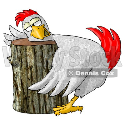 Funny Chicken On a Chopping Block Clipart Illustration © Dennis Cox #5503