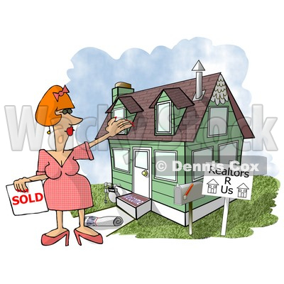 Female Realtor Taking a House Off the Market Clipart Illustration © Dennis Cox #5518