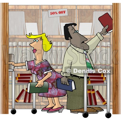 Employees, Man and Woman, Restocking Shelves at a Bookstore Clipart Illustration © djart #5601