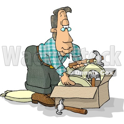 Man With a Box of Hammers and Toilet Seats Clipart Illustration © djart #5610
