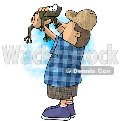Boy Holding and Looking at a Wild Green Frog in His Hands Clipart Illustration © Dennis Cox #5659