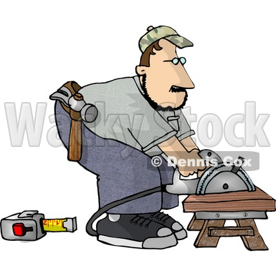 Male Carpenter Cutting Wood On a Sawhorse Clipart Illustration © djart #5669