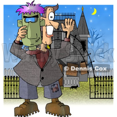 Smiling Man Holding a Halloween Frankenstein Mask In Front of a Haunted House Clipart Illustration © djart #5717