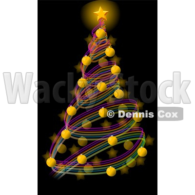 Decorated Christmas Tree with a Bright Gold Star and Balls Clipart Illustration © djart #5745