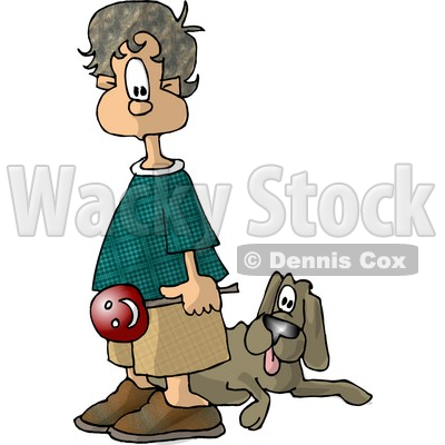 Boy Holding a Lollipop and Standing with His Back Towards a Dog Clipart