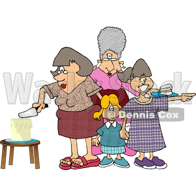 Mother Cutting Her Daughters Birthday Cake Clipart Picture © djart #5902