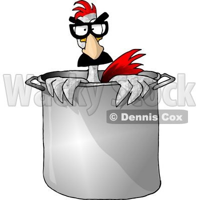 Disguised Anthropomorphic Chicken Standing In a Chef's Cooking Pot Clipart Picture © djart #5903