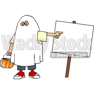 Boy Wearing a Halloween Ghost Costume While Pointing at a Blank Sign Clipart Picture © djart #5911