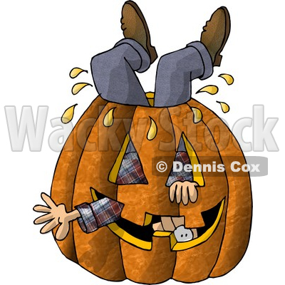 Man Stuck Inside a Big Halloween Pumpkin with a Carved Face Clipart Picture © djart #5915