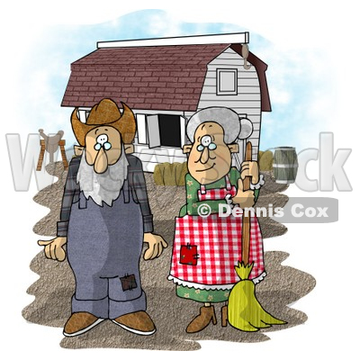 Farmer Wife and Husband Standing In Front of a Barn Clipart Picture ...
