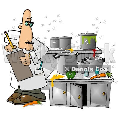 Food Health Inspector Inspecting A Dirty Kitchen At Restaurant Clipart Picture By Djart