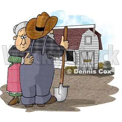 Sad Farmer Wife Hugging Her Husband Who Is Looking at Their Barn Clipart Picture © djart #5922