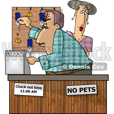 Hotel Clerks Working the Front Desk Clipart Picture © djart #5925