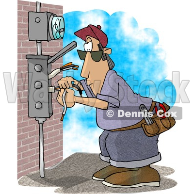 Electrician Wiring A Brick Building Clipart Picture By Djart