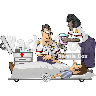 Emergency Medical Technicians (EMTs) Treating a Patient Clipart Picture © djart #5928