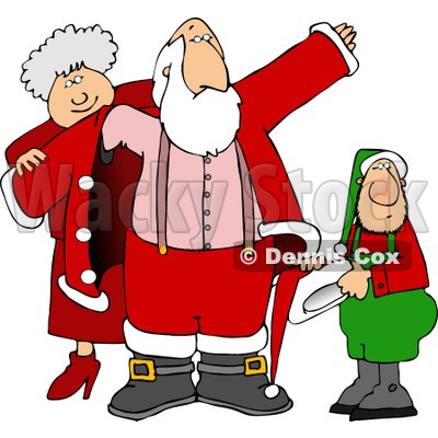 Mrs. Clause & an Elf Helping Santa Get Dressed for Christmas Clipart Picture © djart #5929