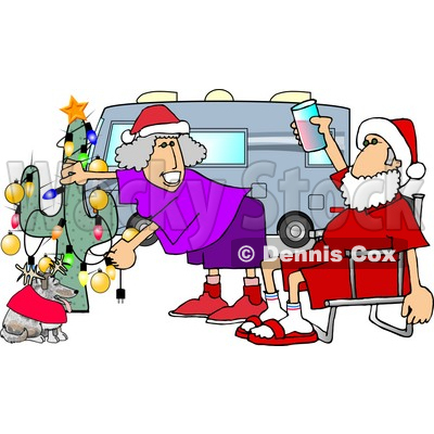 Mr. and Mrs. Clause Celebrating Christmas on the Road With Their Dog Clipart Picture © djart #5930