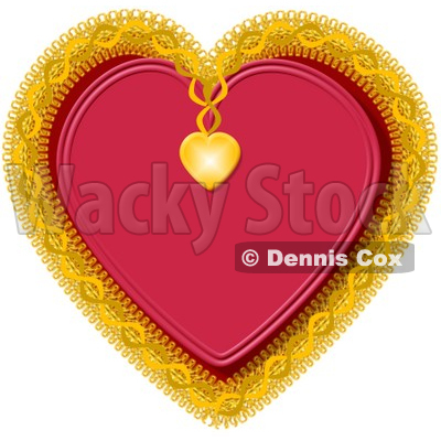 Red Heart Decorated with Gold Trim Clipart Picture © djart #5936