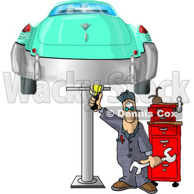 Mechanic Working On an Old Classic Car Clipart Picture © djart #5944