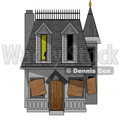 Boarded-up Haunted House Clipart Picture © djart #5945