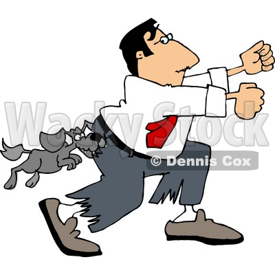 Vicious Dog Attacking a Man Running Away Clipart Picture by Dennis Cox