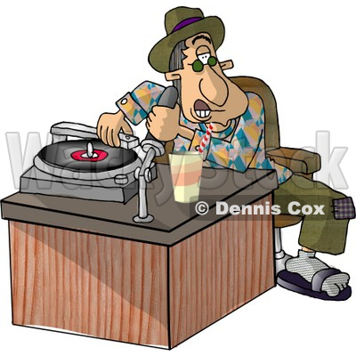 Disc jockey (DJ) Putting a Record On a the Player Clipart Picture © djart #5954