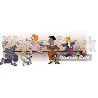 People Walking Their Dogs at a Dog Show Clipart Picture © djart #5964