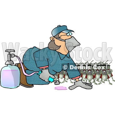 Humorous Bugs Watching a Pest Control Exterminator Test a Chemical Pesticide Substance Clipart Picture © djart #5967