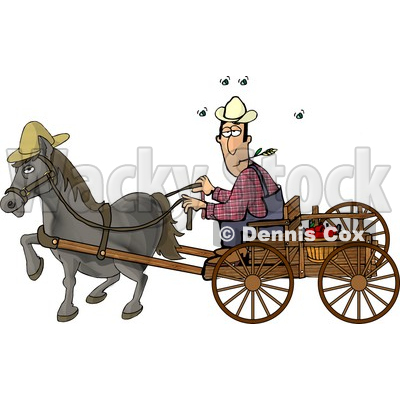 Horse Pulling a Farmer On a Wagon Clipart Picture © djart #5970