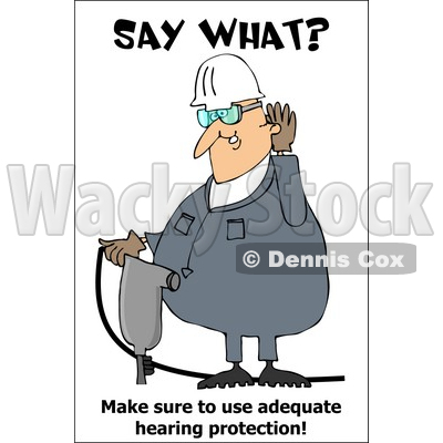 Royalty-Free (RF) Clipart Illustration of a Jackhammer Operator Covering His Ears © djart #59715