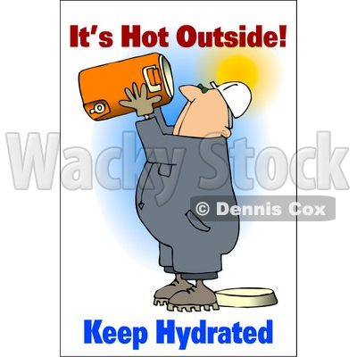 Royalty-Free (RF) Clipart Illustration of a Thirsty Worker Man Holding Up A Water Cooler © djart #59717