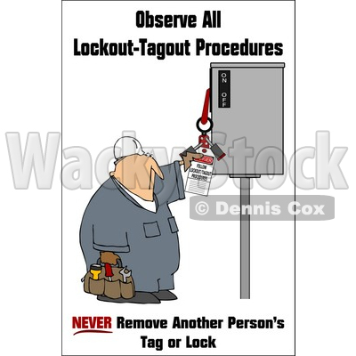 Royalty-Free (RF) Clipart Illustration of a Worker Man Reading An Electrical Tag © djart #59719