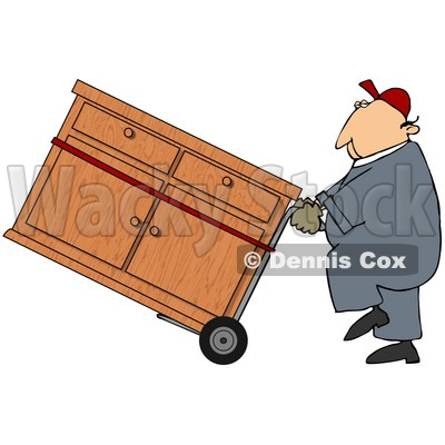Royalty-Free (RF) Clipart Illustration of a Worker Man Delivering A Dresser On A Dolly © djart #59738