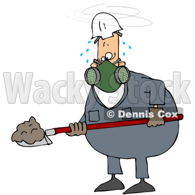 Royalty-Free (RF) Clipart Illustration of a Sweaty Worker Man Shoveling And Wearing A Respirator © djart #59754