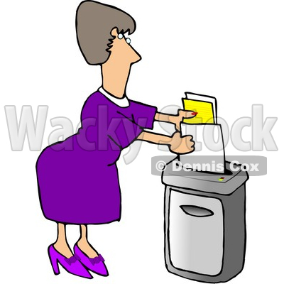 Female Secretary Feeding a Paper Shredder Confidential Documents Clipart Picture © djart #5976