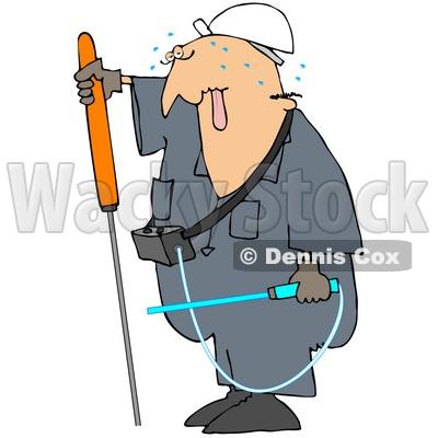 Royalty-Free (RF) Clipart Illustration of a Male Worker Sweating And Checking For Gas Leaks © djart #59763