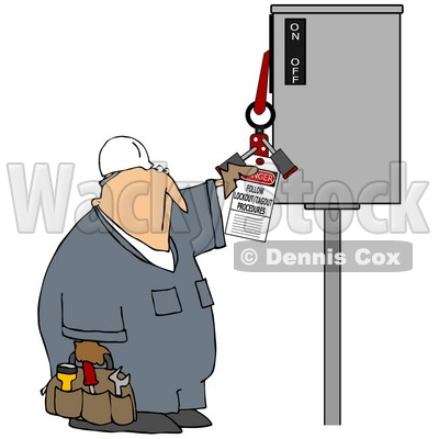 Royalty-Free (RF) Clipart Illustration of a Worker Guy Reading An Electrical Tag © djart #59766