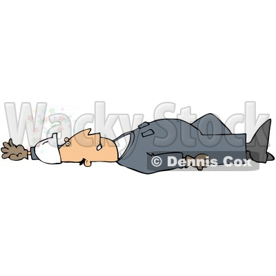 Royalty-Free (RF) Clipart Illustration of an Injured Male Worker Laying Flat On His Back On A Slippery Floor © djart #59768