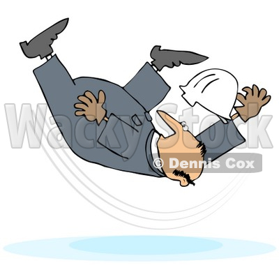 Royalty-Free (RF) Clipart Illustration of a Male Worker Taking A Fall On A Slipper Floor © djart #59771