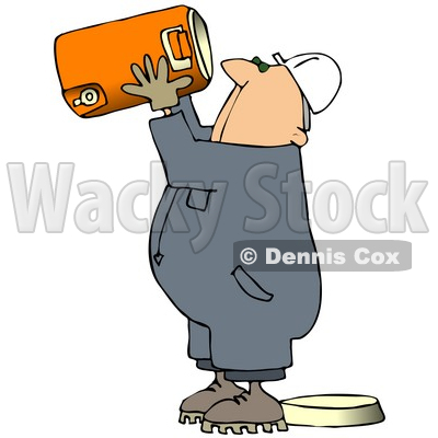 Royalty-Free (RF) Clipart Illustration of a Very Thirsty Worker Man Drinking Straight From A Large Cooler © djart #59776