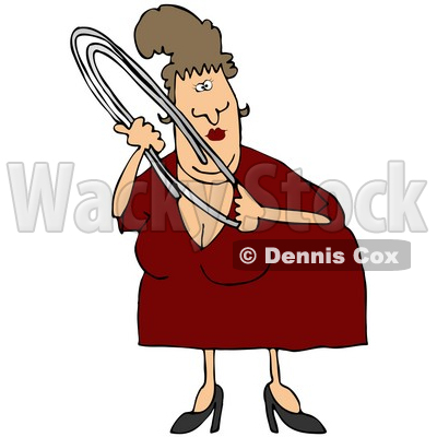 Royalty-Free (RF) Clipart Illustration of a Chubby Middle Aged Woman Holding A Large Paper Clip © djart #59789