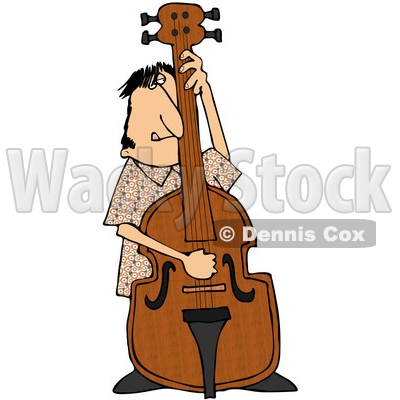 Royalty-Free (RF) Clipart Illustration of a Man Standing Behind And Playing His Bass © djart #59799