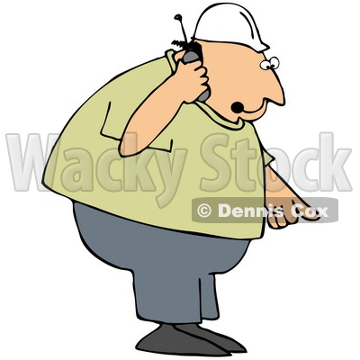 Royalty-Free (RF) Clipart Illustration of a Bossy Contractor Talking On A Phone And Pointing Down © djart #59809